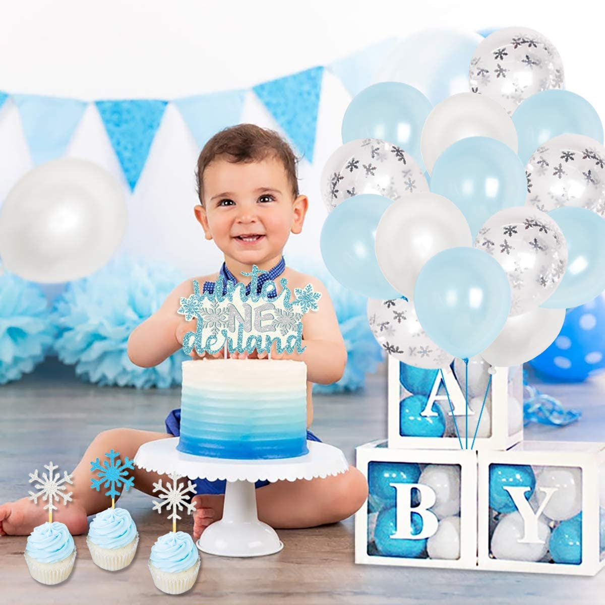 Winter Onederland Birthday Decorations Boy Blue and Sliver Wonderland Snowflake 1st Birthday Party Supplies with Snowflake Photo Banner Winter Onederland Banner Cake Topper