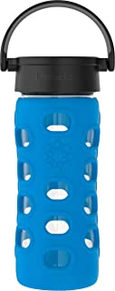 product image for Lifefactory 12-Ounce BPA-Free Glass Water Bottle with Classic Cap and Protective Silicone Sleeve, Cobalt Blue