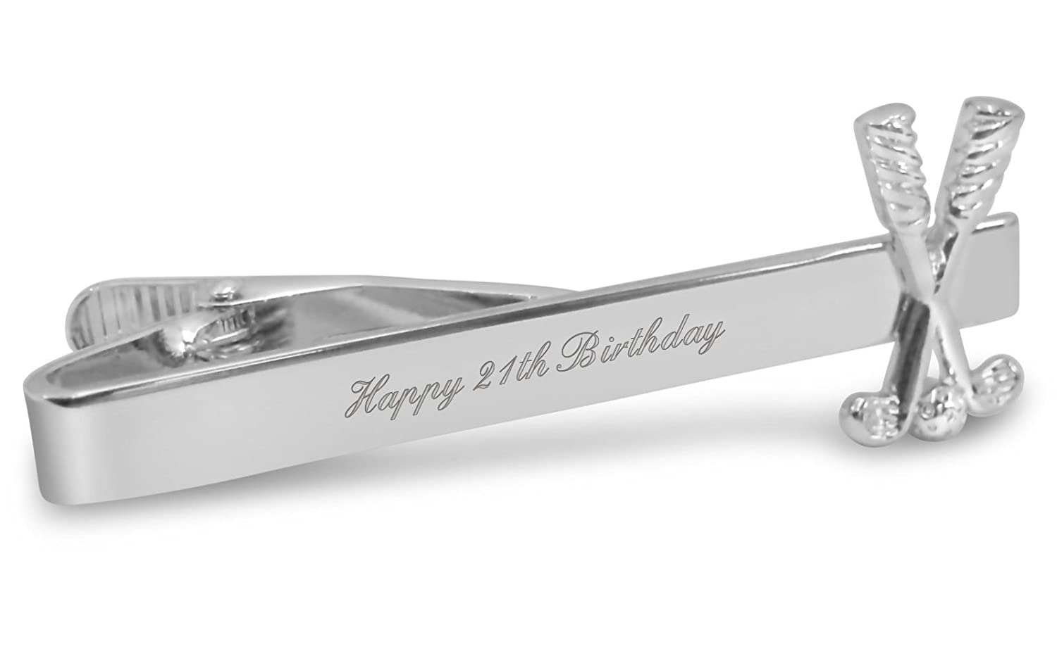 Luxury Engraved Gifts UK Mens Happy 21St Birthday Tie Clip//Pin Ideal Gift A16 Personalised With Up To 30 Letters