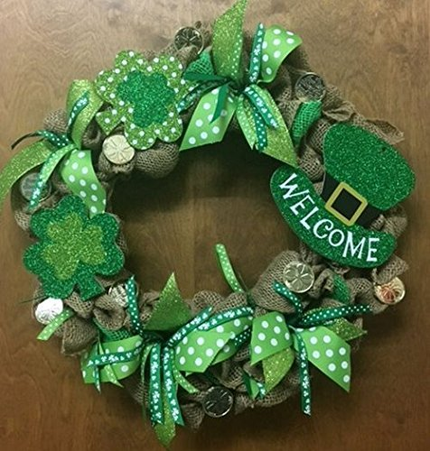St. Patrick's Day Burlap Holiday Wreath with Sparkle. Super