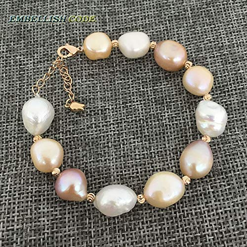 (Rainbow Lustrous Semi Baroque Irregular Pearl and Rose Gold Beads Bracelet | Mixed Color White Pink Purple Freshwater Pearls (18cm))