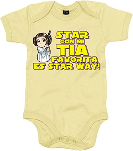Body bebé Star con mi tia favorita es Star Way parodia Princesa Leia - Amarillo, 6-12 meses: Amazon.es: Bebé
