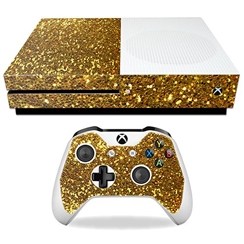 Price comparison product image Skin For Microsoft Xbox One S – Gold Dazzle | MightySkins Protective, Durable, and Unique Vinyl Decal wrap cover | Easy To Apply, Remove, and Change Styles | Made in the USA