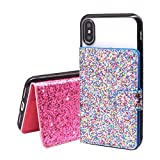 2-Pack Universal Flip Card Holder, ClarksZone Sequin Glitter Wallet Case [3M Adhesive] Stick On Slim Credit Card ID Card Slots for Apple/Android - Multi-Colored & Pink Glitter