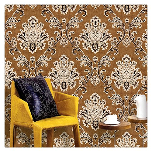 """HaokHome 1007 Damask Wallpaper Rolls Brown/Champagne/Black Textured Wall Decoration 20.8"""" x 32.8ft"""