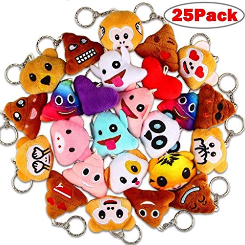 Poop Emoji Keychains, Dreampark Mini Emoji Key Chains [25 Pack] Poo Emoji Plush Keychain Party Favors for Kids Birthday/Christmas Party Supplies 2'' Set of 25 by Dreampark