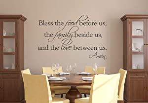 Bless The Food Before Us, The Family Beside Us and The Love Between Us Amen Wall Decal Quote Lettering Words - Vinyl Wall Decal