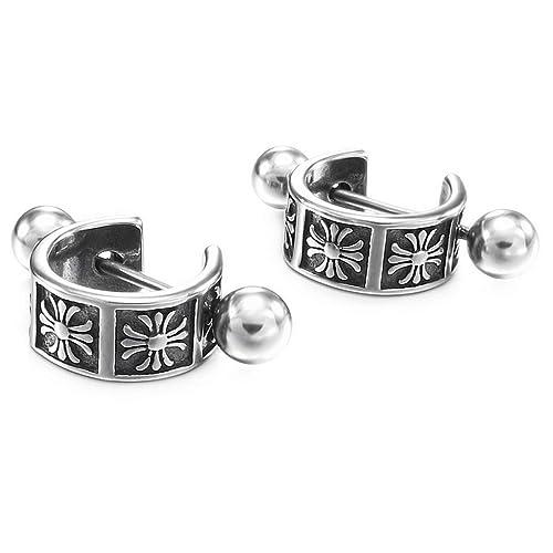 INBLUE - Pendientes de acero inoxidable para hombre y mujer ...