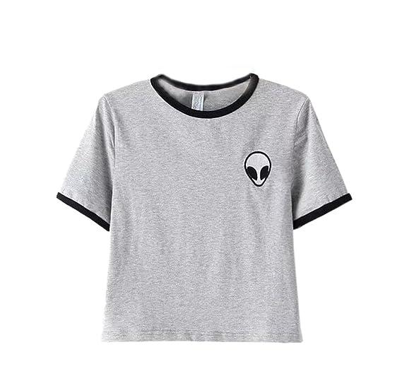 DELEY las Mujeres de Verano Alien Imprimir Camiseta de Manga Corta Blusa Casual Suelta la Camiseta Crop Tops: Amazon.es: Ropa y accesorios