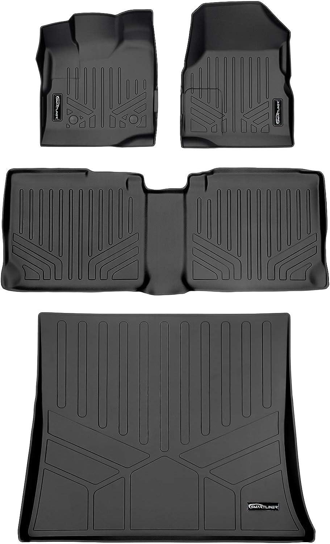 SMARTLINER Custom Fit Floor Mats 2nd Row Liner Black for 2018-2019 Chevrolet Equinox//GMC Terrain