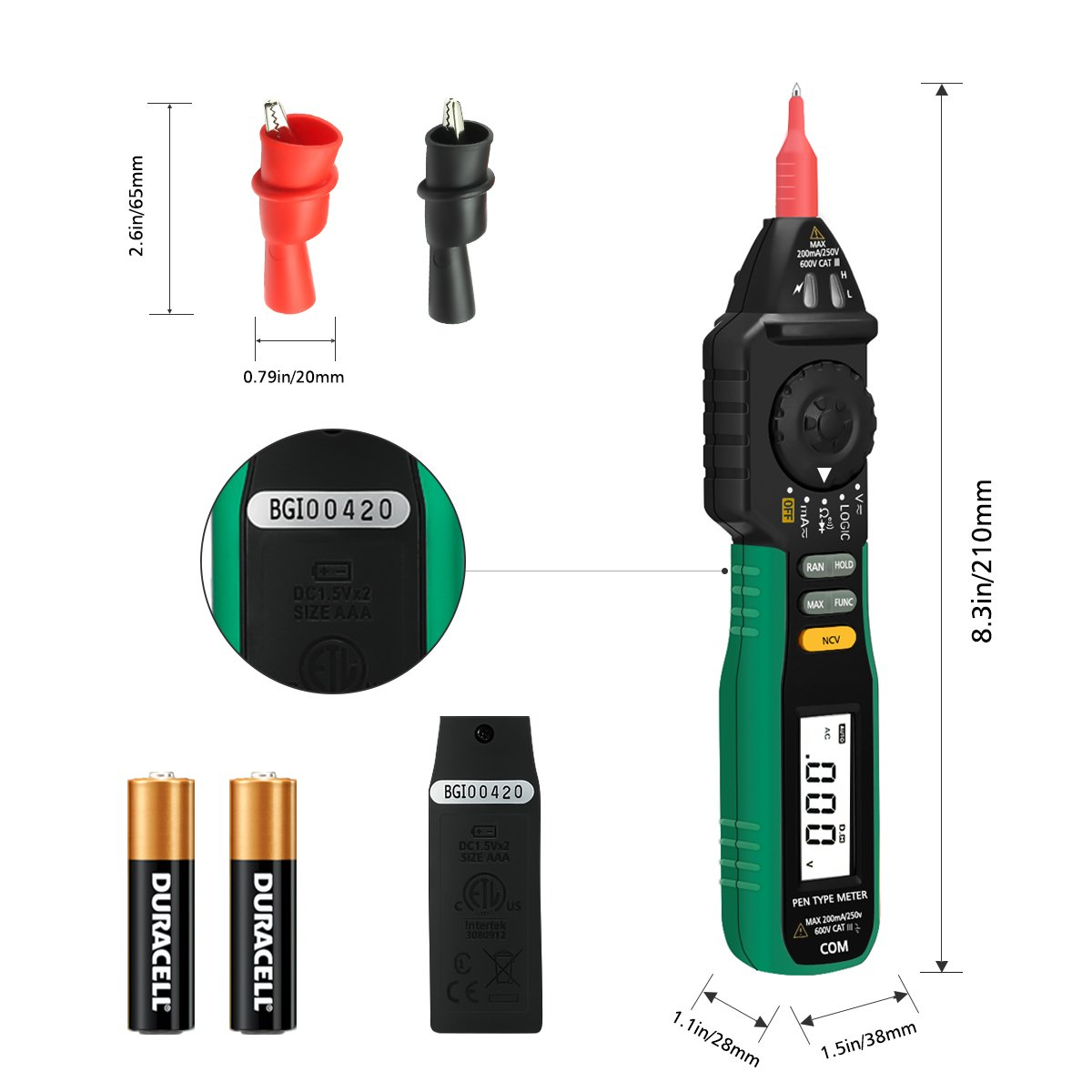 Digital Multimeter, LIUMY Pocket size Pen Multimeter with NCV and Auto Ranging, AC DC Voltage Tester, Electrical Tester, Current/ Diode/ Continuity/ Logic by LIUMY (Image #8)