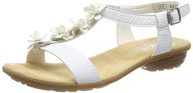 Women Rieker Heeled Sandals white V3446 80 80 | shoesyouwant