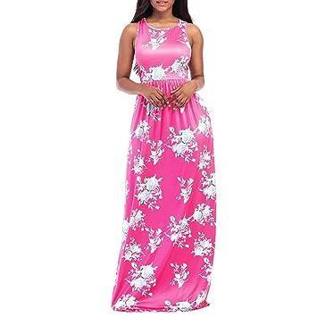 Ba Zha Hei | Vestido de Playa sin Mangas con Estampado Floral de Mujer Vestidos Largos
