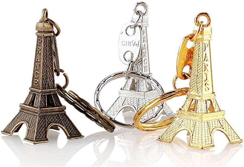 deanyi 12unidades Torre Eiffel Keychain Creativo Metal llavero con Colgante de la Bolsa de Keychain accesorios Charm (Bronce, Plata, Oro) papelería y Productos para oficina