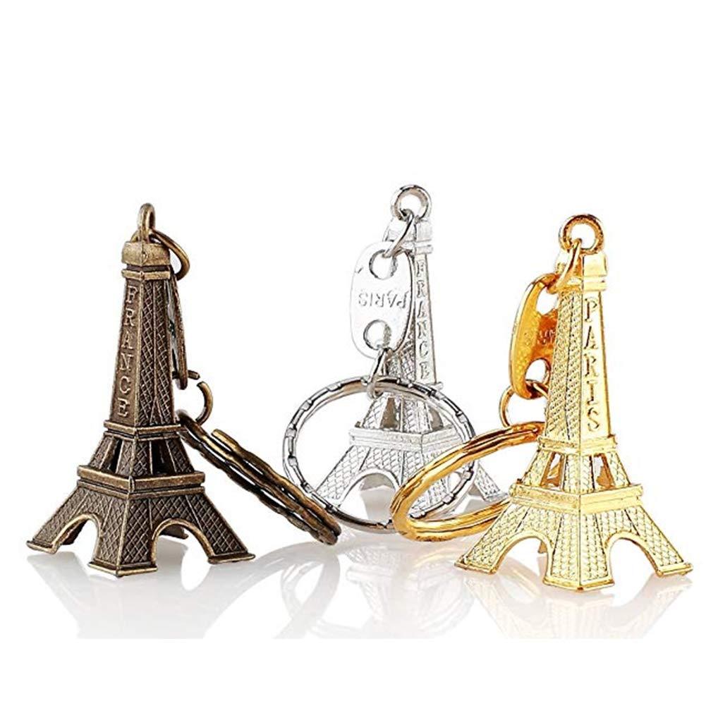 bronce, plata, oro ZYCX123 12pcs-metal creativo Llavero Torre Eiffel Llavero