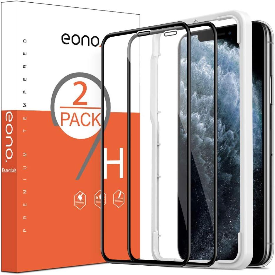 Eono by Amazon - Protector Pantalla para iPhone XS/iPhone 11 Pro/iPhone X, Cristal Templado, con Posicionador, Sin Burbujas, 5.8 Pulgadas, Negro [2 Piezas]