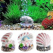 Slaxry Shell Pearl & Air Stone Aquarium Bubbling Decor Fish Tank Ornament Shell Bubbler