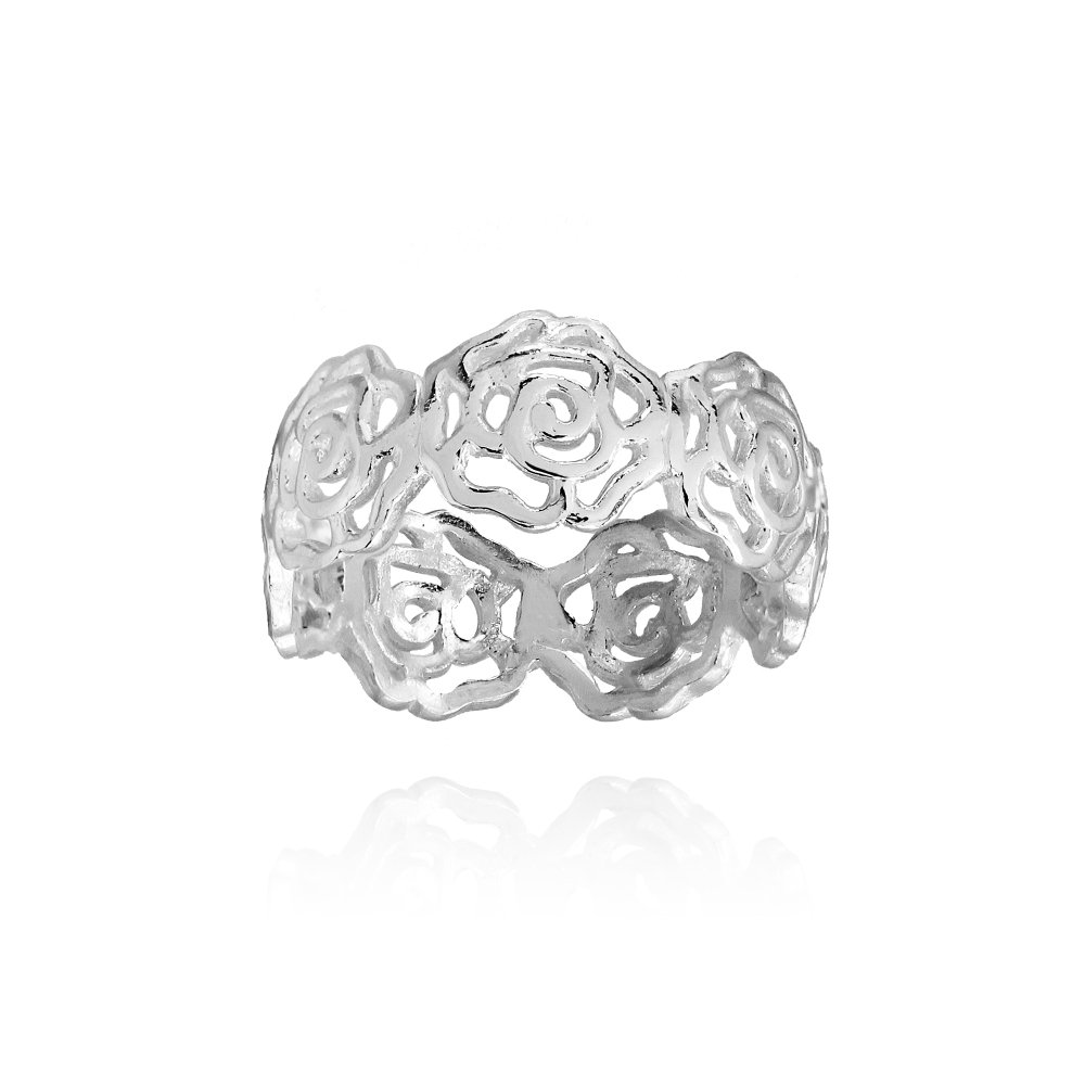 Sterling Silver High Polished Filigree Rose Flower Band Ring, Size 7
