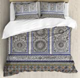 Arabian Decor Duvet Cover Set by Ambesonne, Nostalgic Moroccan Architecture with Stone Carving and Motifs Majestic Ottoman Empire Artsy, 3 Piece Bedding Set with Pillow Shams, King Size, Multi