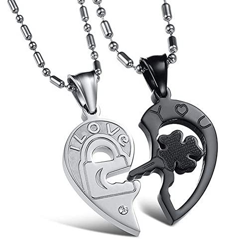 9885b8b7c7 Couples Necklace for Him and Her Broken Heart Puzzle Key and Heart Engraved  Titanium Cubic Zirconia