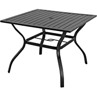 EMERIT Outdoor Metal Patio Table Bistro Dining Table with Umbrella Hole 37
