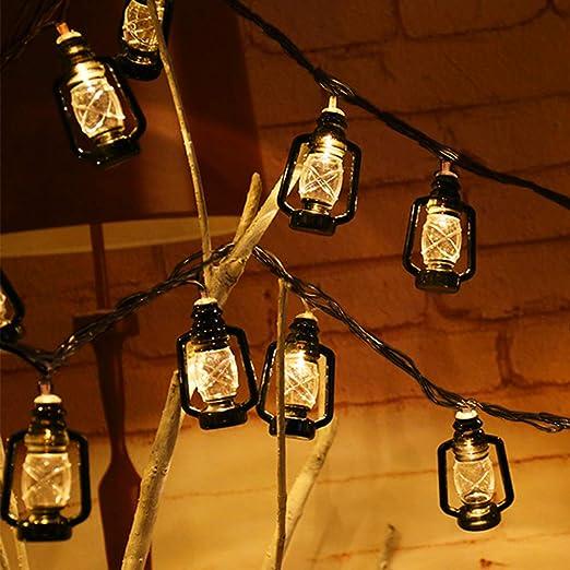 Bukm - Guirnalda de luces LED, 20 luces LED, cadena de luces solares para exterior, blanco cálido, farolillos, decoración exterior para jardín, árboles, terraza, bodas, fiestas: Amazon.es: Jardín
