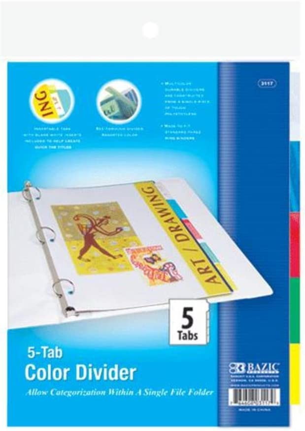 BAZIC 3-Ring Binder Dividers w// 5-Insertable Color Tabs Case of 24
