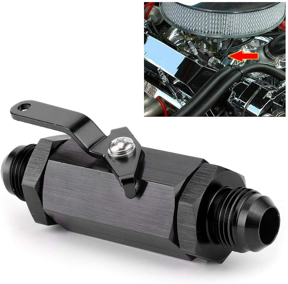 Black Cut Off Valve,Aluminum Alloy Y974-10AN Shut Off Check Valve Car Refitting for AN10 Fuel Pipe