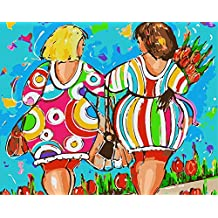 ABEUTY DIY Paint by Numbers for Adults Beginner - Colorful Girls and Flowers 16x20 inches Number Painting Anti Stress Toys (Wooden Framed)