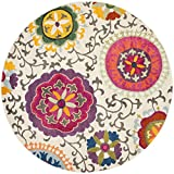 Cheap Safavieh Monaco Collection MNC233A Modern Colorful Floral Ivory and Multicolored Round Area Rug (5′ Diameter)