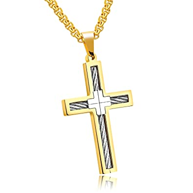 UM Jewelry Men Religious Crucifix Pendant Stainless Steel Punk Cable ...
