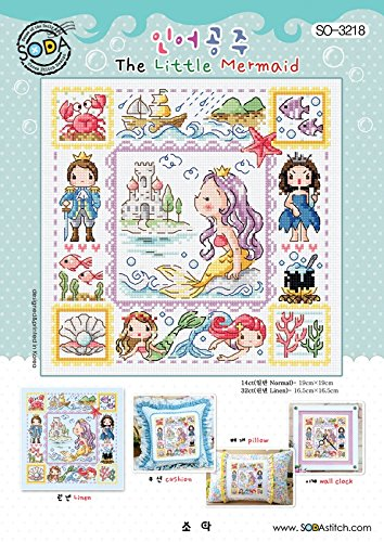 Fairy Cross Stitch Pattern - SO-3218 The Little Mermaids, SODA Cross Stitch Pattern leaflet, authentic Korean cross stitch design chart color printed on coated paper