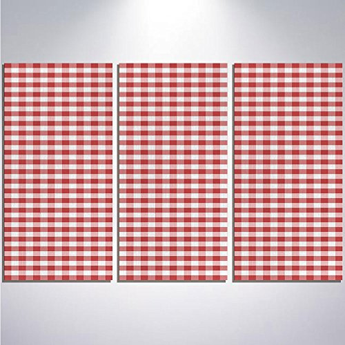 3 Pieces Modern Painting Canvas Prints Wall Art For Home Decoration Checkered Print On Canvas Giclee Artwork For Wall DecorHorizontally Striped Design Gingham Inspired Old Fashioned Traditional (Framed Mini Gingham)