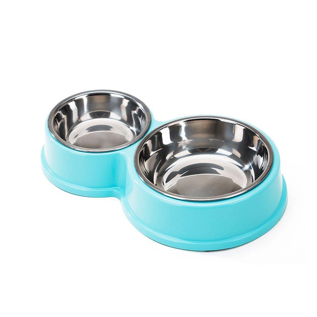 DDSS Pet Feeder Dog Food Bowl Small and Medium Pet Food Bowl Drinker Puppies Cat Dog Feeder Non-Slip Anti-Fall Bowl bluee  -