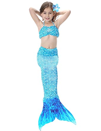 5894d930b1 Mermaid Tail for Swimming Costume Girls Swimmable Princess Swimsuit Bikini  Set Mermaid Bathing Suit: Amazon.co.uk: Clothing