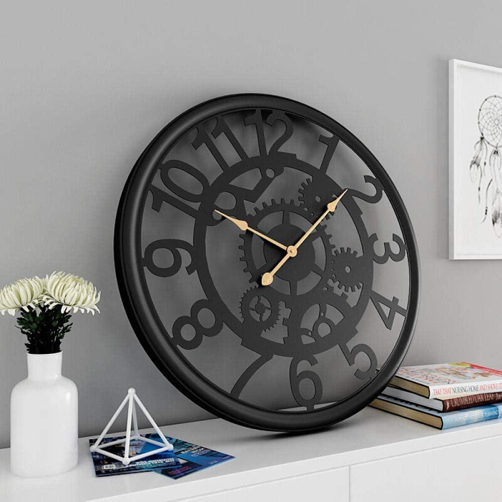 LIJINFEI Reloj de Pared Engranaje Hierro Forjado Red de Viento Industrial Reloj de Pared Rojo
