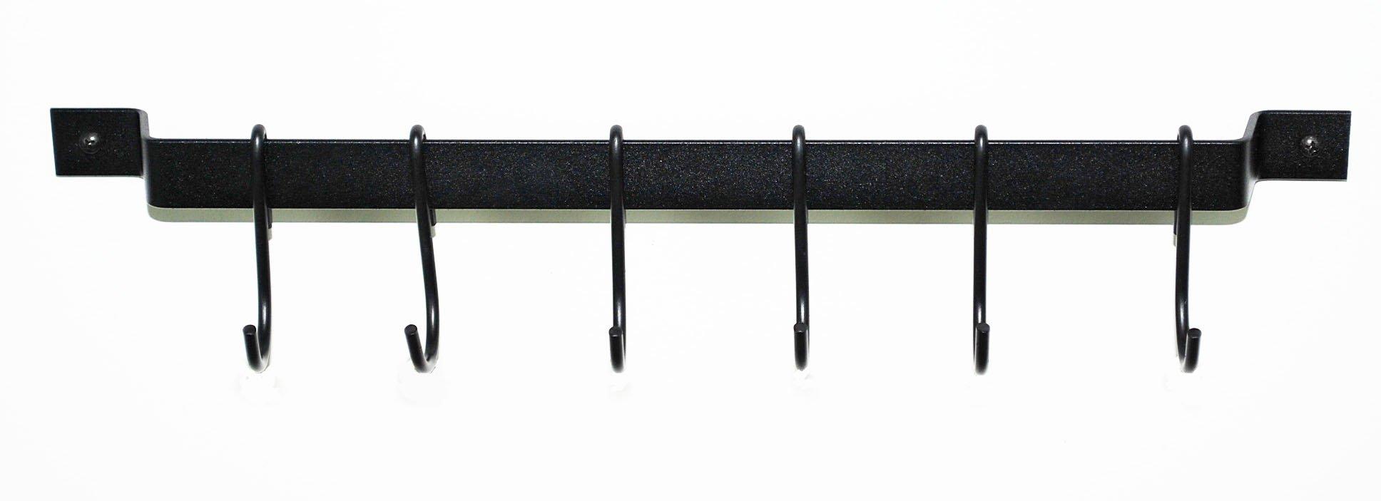 Rogar 18'' Gourmet Bar & Utensil Rack: Black w/ Black Hooks