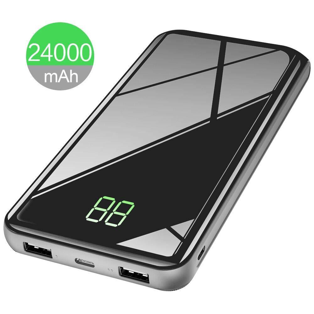 X-DRAGON Batería Externa 24000mAh Power Bank Cargador Portátil con Superficie de espejo, Pantalla Digi-Power para movil iphone xiaomi Huawei