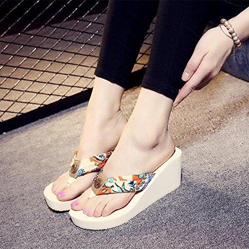 FEI Chanclas Zapatos de cuesta de playa Sandalias de tacón alto Zapatillas antideslizantes sandalias con tamaños Antidérapant ( Color : 1001 , Tamaño : 34 ) 1002