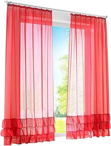 1er de Pack – Visillo fruncido cortinas con Pliegues transparente Voile Cortina, tela, rojo, BxH 150x245cm: Amazon.es: Hogar