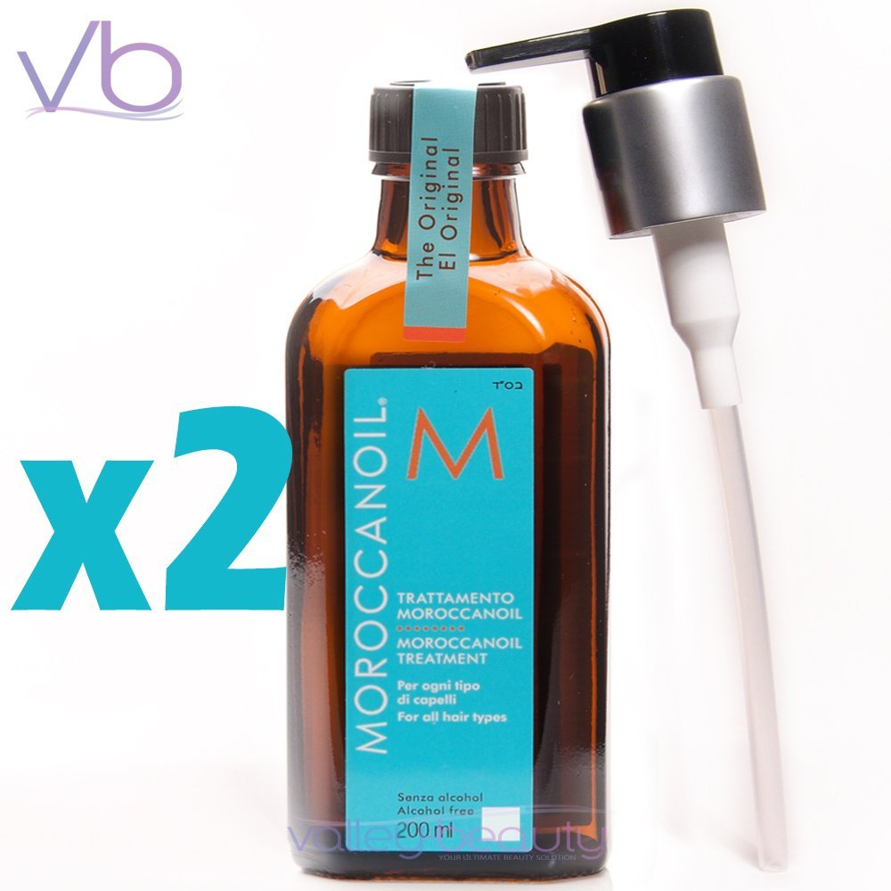 2 X Moroccan Oil Original Moroccanoil Hair Treatment 200ml/6.8oz * with Pump *