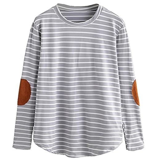 Koly Moda de mujer Casual Suelto Labor de retazos Largo Manga Raya O cuello tops Blouse Camisetas y tops Blusas y camisas T Shirts Sweaters Mujeres Suéter ...