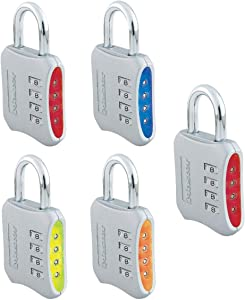 Master Lock 653D Locker Lock Set Your Own Combination Padlock, 5 Pack, Assorted Colors