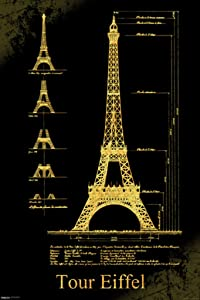 Pyramid America Malcolm Watson Tour Eiffel Tower Schematics Architectural Design Landmark Paris Art Cool Wall Decor Art Print Poster 24x36