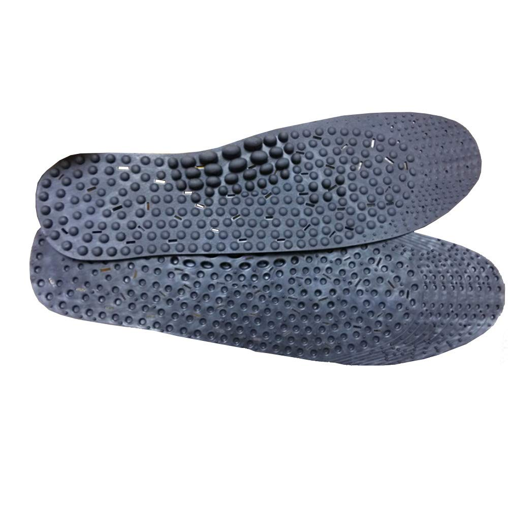 1 Pair Anion Acupressure Magnetic Massage Foot Therapy Reflexology Pain Relief Foot Care Cushion Shoe Insoles Washable One Size Fits All Men and Women (Black)