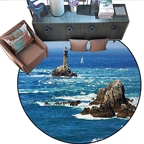 Lighthouse Round Rug Kid Carpet Daytime Lighthouse Wavy Ocean View and Clear Sky Rocky Islands Sailboat Circle Rugs for Living Room (63