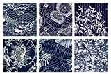 6 Indigo Katagami Asian Japanese Fat Quarter Quilt Fabric Collection: 1 1/2 Yards