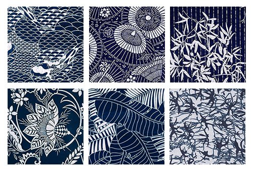 6 Indigo Katagami Asian Japanese Fat Quarter Quilt Fabric Collection: 1 1/2 Yards by Debsews Fabric