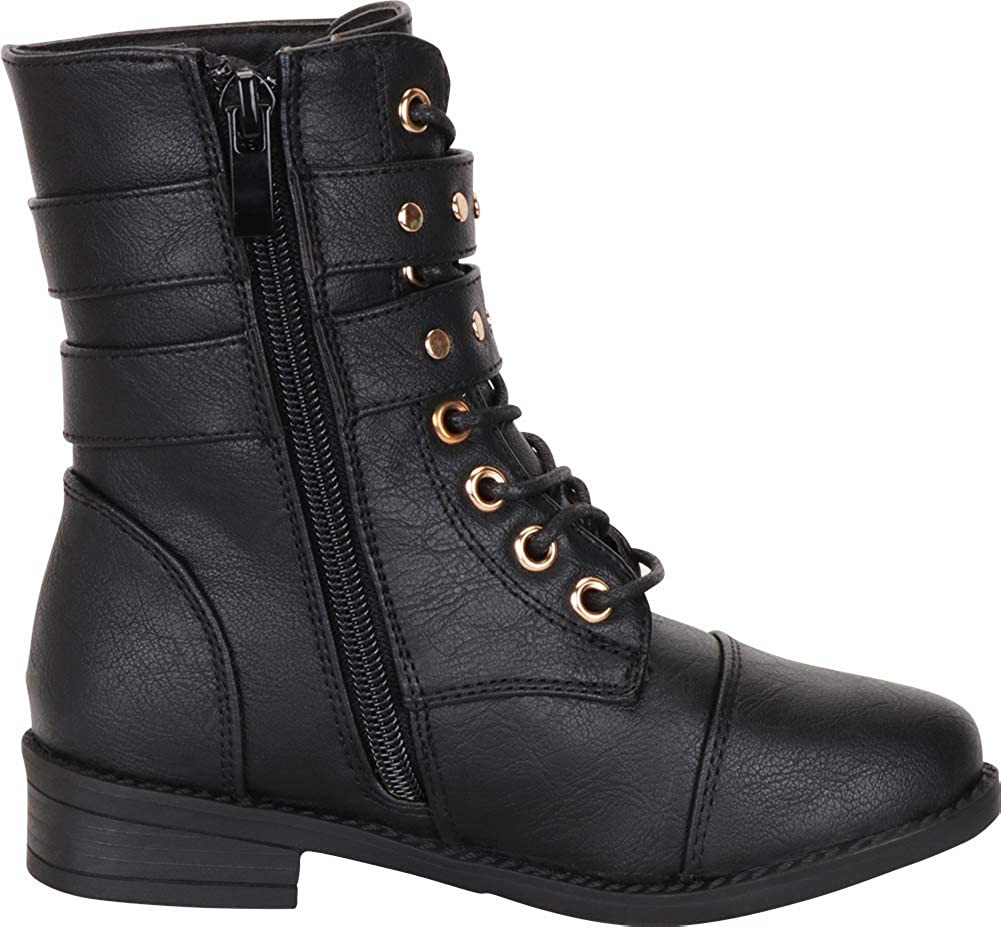 Toddler//Little Kid//Big Kid Cambridge Select Girls Studded Strappy Lace-Up Low Heel Combat Boot