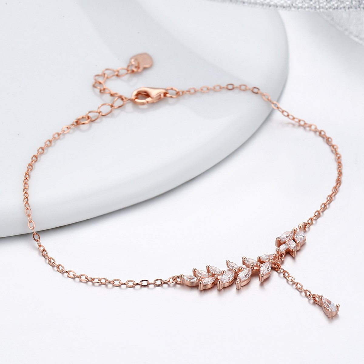 The Kiss Rose Gold Tree Leaves 925 Sterling Silver Bracelet